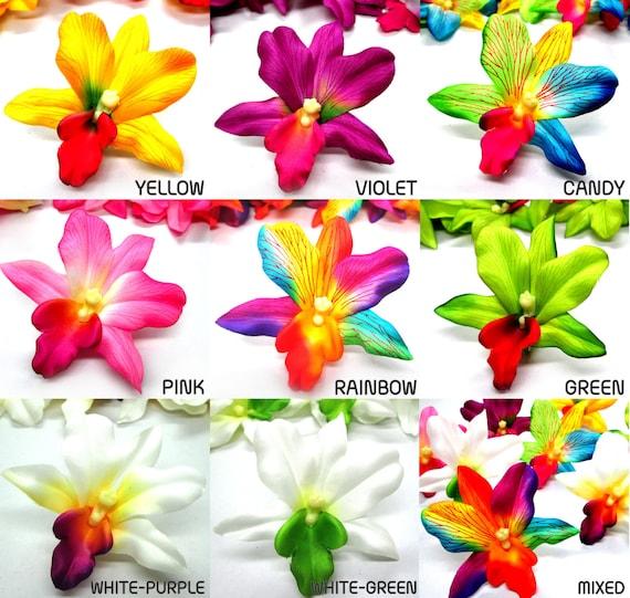 48 hawaiian cattleya vanda heads artificial silk flower etsy image 0 mightylinksfo
