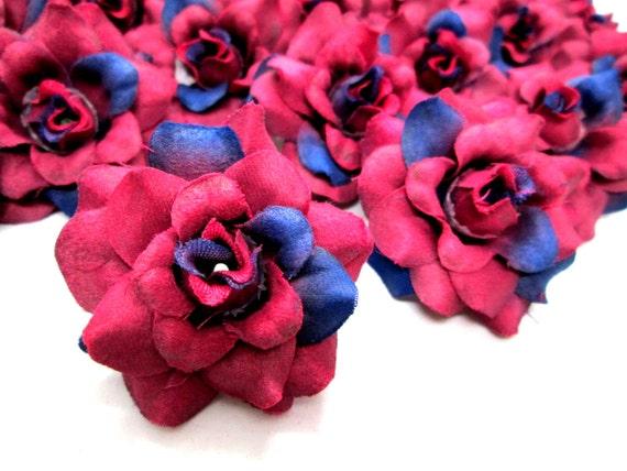 24 Wine Mini Roses Heads Artificial Silk Flower 175 Etsy