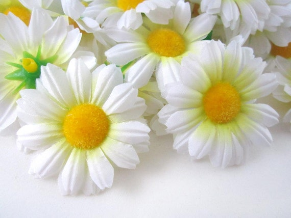 25 white gerbera daisy heads artificial silk flowers 175 etsy image 0 mightylinksfo