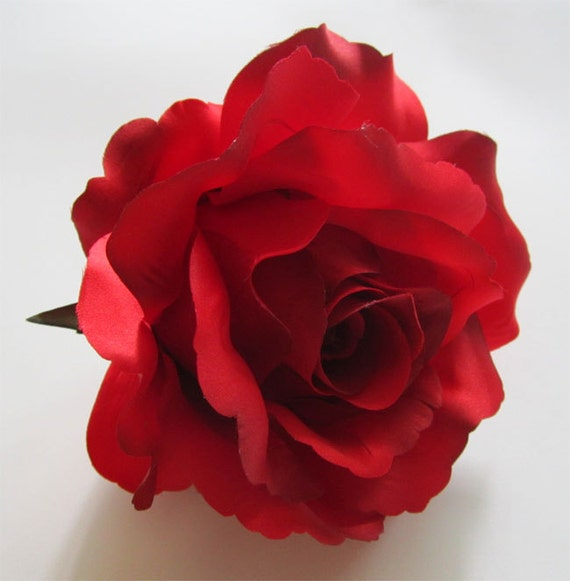 2x huge red roses artificial silk flower heads 6 inches etsy image 0 mightylinksfo