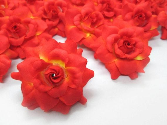 24 orange mini roses heads artificial silk flower 175 etsy image 0 mightylinksfo