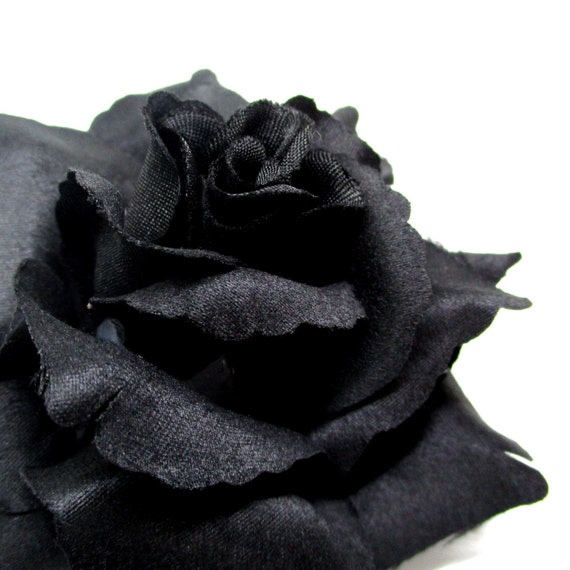 375 Black Silk Rose Heads Pack Of 4 Fabric Etsy