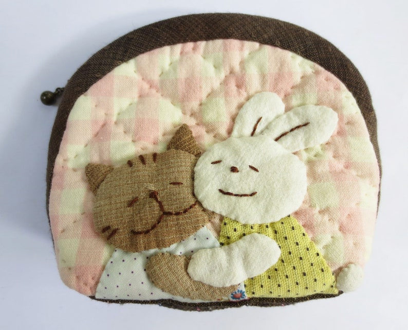 FREE shipping handmade cat rabbit quilt applique fabric wallet pocket coin pouch purse mini bag