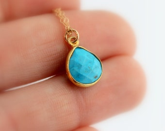 Turquoise Pendant Necklace Gold Filled Simple Minimalist Jewelry Layering Custom Necklaces Women Girls Gift for her