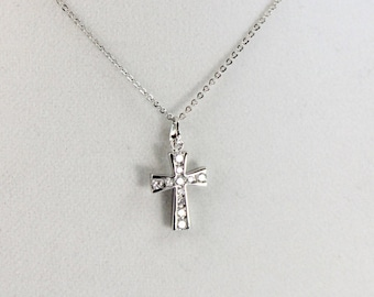 Cross Necklace Women White Gold Filled Sterling Silver Women High Quality Crystal Crosses Charm Pendant Crystals Christian Jewelry