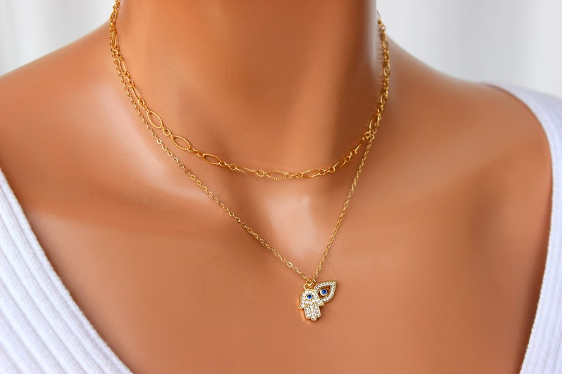 BEST SELLER Gold Evil Eye Hamsa Double Charm Necklace Gold Hamsa Necklace Women Small Blue Evil Eye Necklace ProtectionJewelry Gift for her