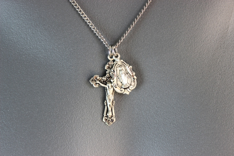 BEST SELLER Sterling Silver Crucifix Cross Pendant Miraculous Medal Double Pendant Necklaces Gold Men Women Unisex Superb Quality Jewelry