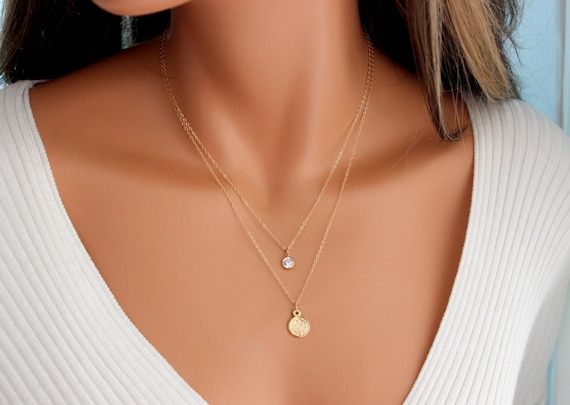 Gold Filled Double Layer Necklace St  Benedict Cross Pendant Women Multi  Strand Necklaces Jewelry Protection Gift