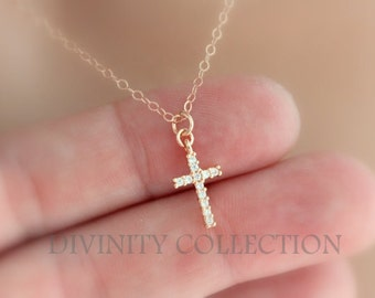 Rose Gold Filled Cross Necklace Small Tiny Dainty Crystal Pendant Women Quality Silver Little Girls Necklaces  Delicate Jewelry gift