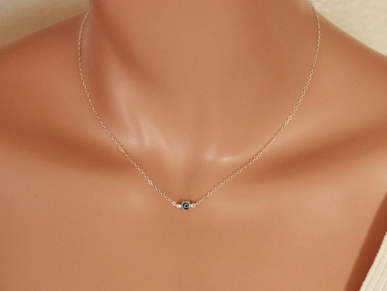 Tiny Evil Eye Necklace Sterling Silver Gold Filled Small Blue  cb2bb16125
