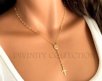 Gold Rosary Necklace for Women Miraculous Medal Catholic Jewelry Cross Necklaces Yolanda Foster