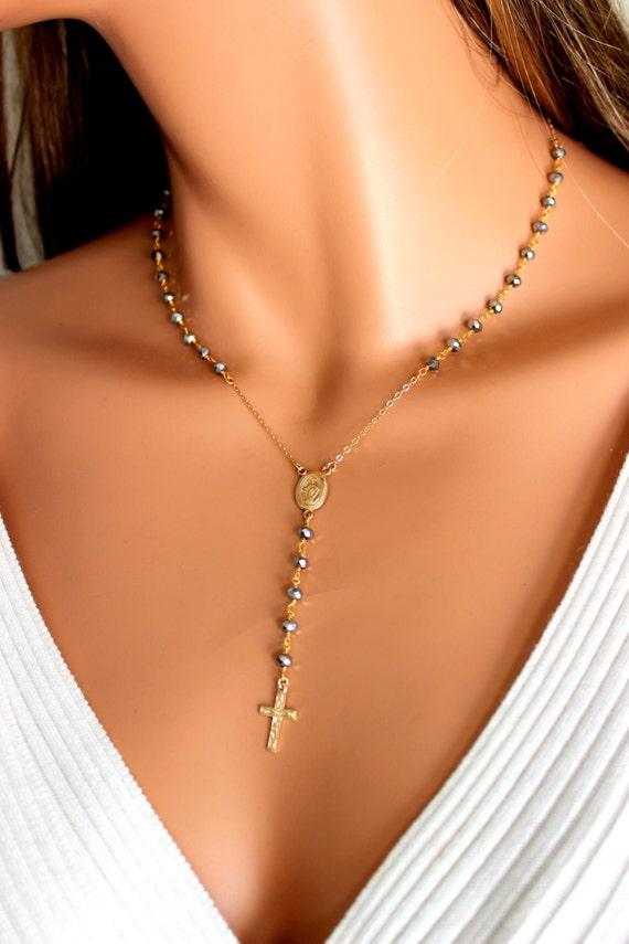 Sur Miraculeuse Bijoux Mesure Femme Gunmetal Cristal Chapelet Perles De Médaille Rempli Religieux Christian En Or Collier Graphite Chapelets UMzVSp