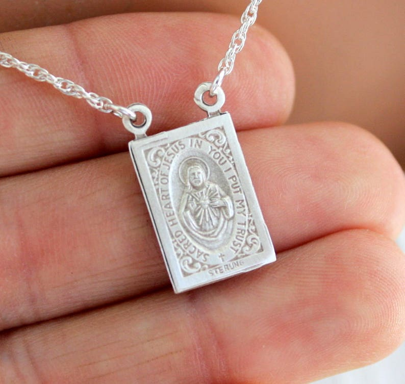0dccf0222bbe3 Scapular Necklace Sterling Silver Jewelry Women Men Pendant Protection  Necklaces High Quality Gift Unisex Catholic Scapulars