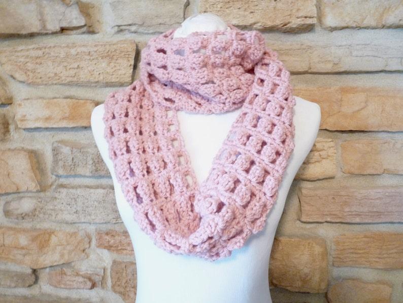 Pink scarf handmade crochet pink neck warmer pink cowl image 0