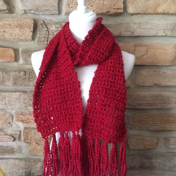 Roter Schal häkeln Frauen Halswärmer mit Quasten   Etsy