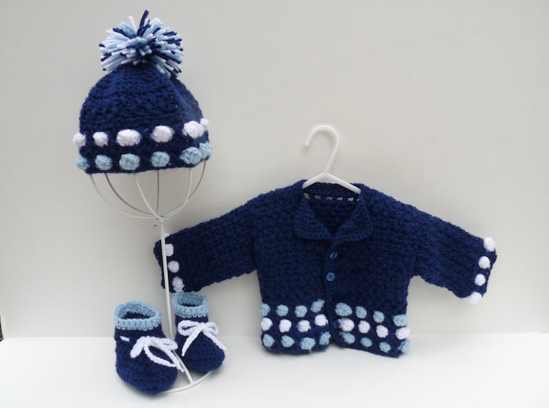 Baby boy blue outfit Crochet  blue baby layette baby boy image 0