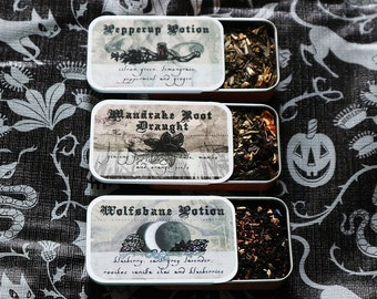 Magical Wizarding World Fandom Inspired Potions Tea Tins- Wolfsbane, Pepperup or Mandrake Root