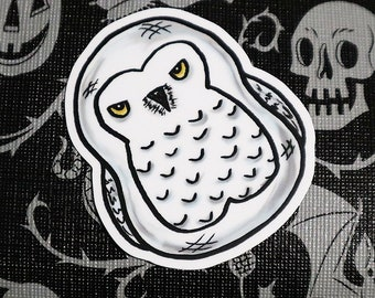 Fat Snowy Owl Vinyl Sticker