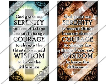 Serenity Prayer 1x2 Collage Sheet, one by two inch, Instant Download, Letters, Domino, Rectangles, Digital Image, Religious, Pendant