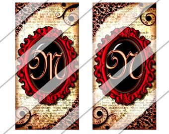 Wicked Romance 1x2 Collage Sheet, one by two inch, Instant Download, Letters, Red, Domino, Rectangles, Digital Image, Personalized, Pendant
