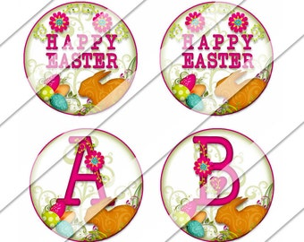 Easter Circles Digital Collage Sheet, One Inch Circles, Instant Download, Easter, Spring, Bunny Rabbit, Flowers, Pink, Easter Eggs