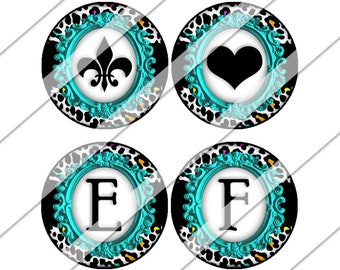 One Inch Circles, Teal Leopard Print Digital Collage Sheet, Instant Download, Personalized, Alphabet, Custom Letters, Bottle Cap, Images