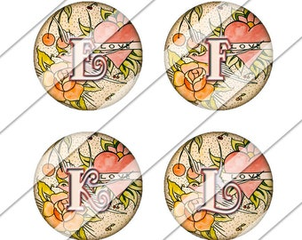 Tattoo Letters Digital Collage Sheet, Instant Download, Love, Tattoo, Rose, Circles, One Inch Circles, Downloadable, Digital Image, Collage