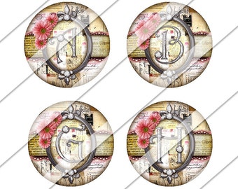 Chic Vintage Circles Digital Collage Sheet, One Inch Circles, Instant Download, Flowers, Image, Pink, Silver, Inchies, Bottle Cap Images