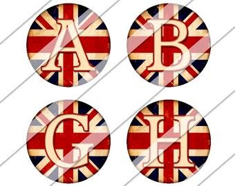 English Flag Digital Collage Sheet, Union Jack Flag, UK, United Kingdom, One Inch Circles, Instant Download, England, Bottle Cap Images