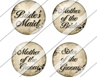 Elegant Wedding Digital Collage Sheet, One Inch Circles, Instant Download, Mother of the Bride, Image, Bride, Flower Girl, Maid of Honor