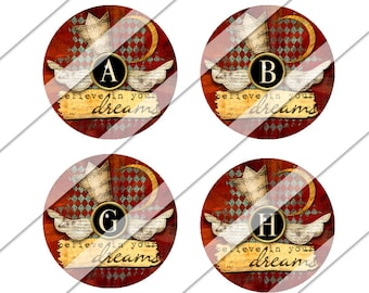 Believe Circles Digital Collage Sheet, One Inch Circles, Instant Download, Images, Angel Wings, Crown, Moon, Inchies, Religious, Bottle Cap