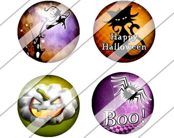 Halloween Digital Collage Sheet, One Inch Circles, Instant Download, Spider, Witch, Ghost, Orange, Pumpkin, Cat, Inchies, Bottle Cap Images