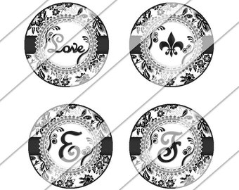 French Black Damask Digital Collage Sheet, One Inch Circles, Instant Download, Images, Black, Flowers, White, Bottle Cap Images