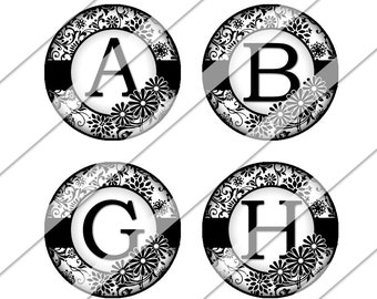 Black and White Floral Damask Digital Collage Sheet, One Inch Circles, Instant Download, Image, Black and White, Inchies, Bottle Cap Images