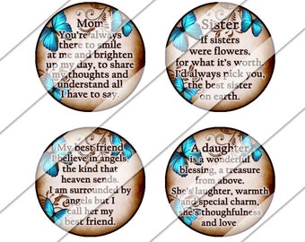 Family Sentiments Digital Collage Sheet, Mothers, Daughters, Sisters, Aunts, 1 Inch Circles, Instant Download, Pendants, Bottle Cap Images
