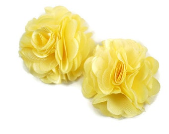 Satin Flower 3 12 Satin Ribbon Flowers Many Colors Available Large Satin Flower Light Yellow Satin Flower Satin Fabric Flowers