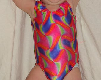 12-14 girls size Ready to ship Gymnastics leotard in Neon water colors