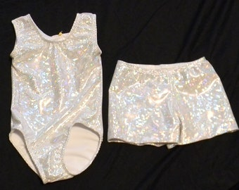 accff5b28384 2t toddlers size Ready to ship Gymnastics leotard and shorts in  silver/white shattered glass