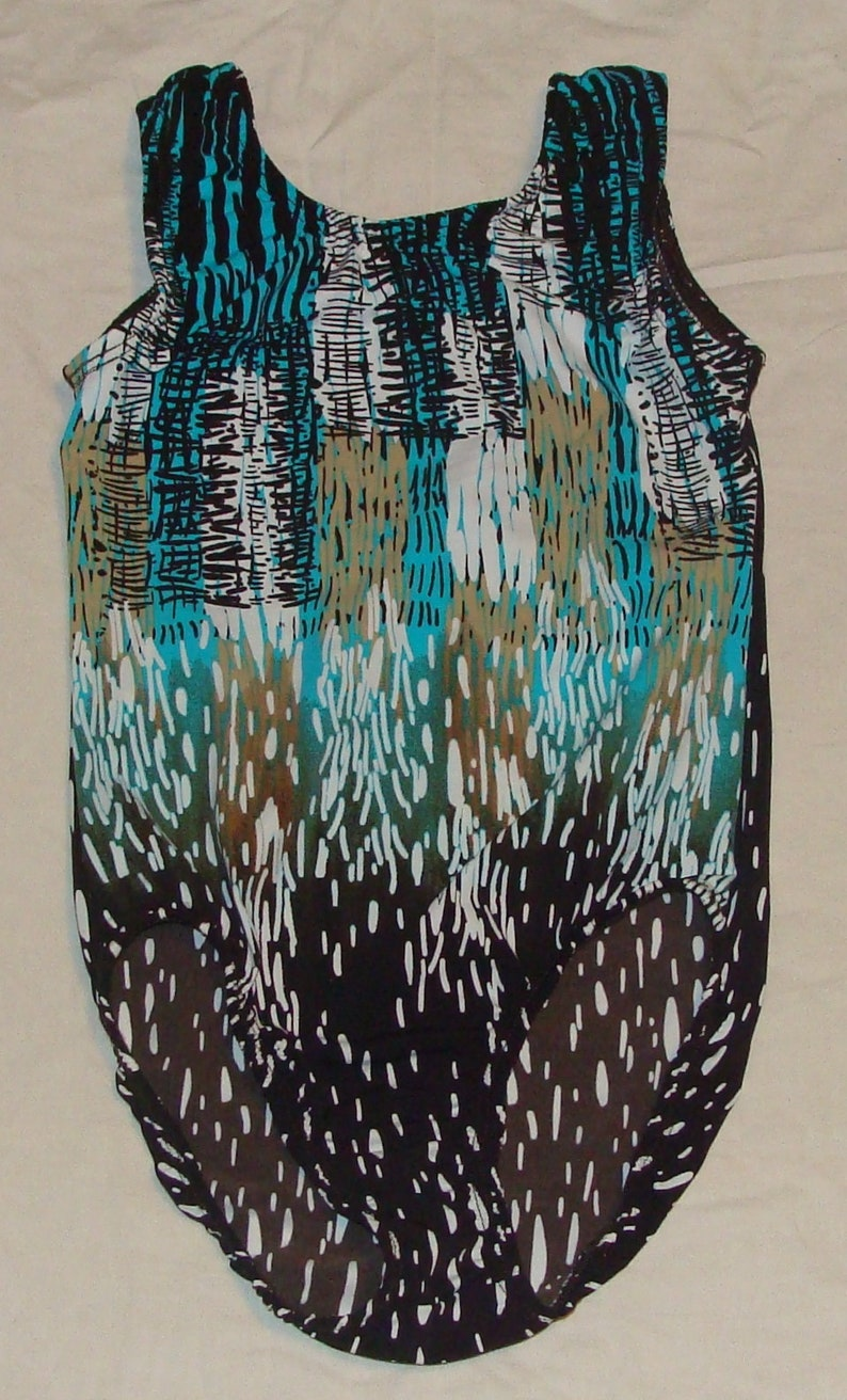 4-5 toddlers size Ready to ship Gymnastics leotard in Turquoise and tan raindrops on skyline