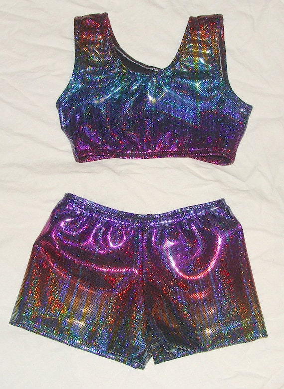 1dac0b47bd798 6-8 girls size Ready to ship Sports bra and shorts in rainbow