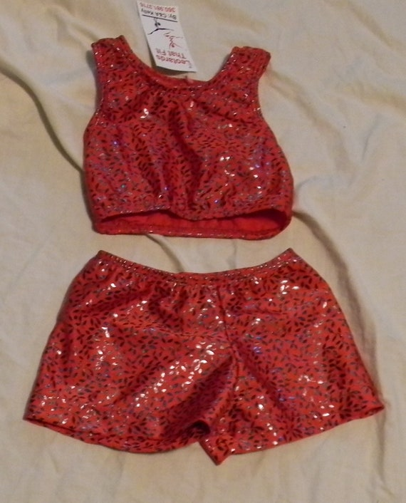 3t toddlers size Ready to ship Sports bra and shorts in large black on black holographic dots wrhinestone cheer applique