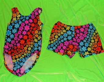 Gymnastics leotard and shorts for Toddlers, Girls and Women rainbow of neon flowers on Black