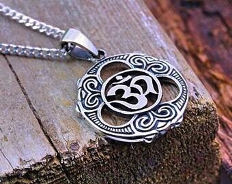 0e4422c5731430 Silver OM Necklace, Sterling silver Om jewelry, Choose Chain man woman, om  yoga Jewelry, om meditation symbol Pendant, R-165
