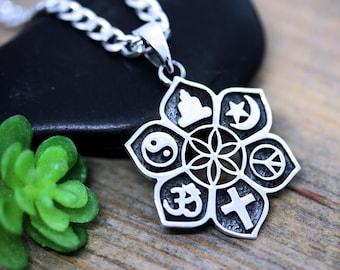 Coexist pendant etsy sterling silver coexist coexist pendant necklace choose chain harmony religious symbols pendant necklace aloadofball Gallery