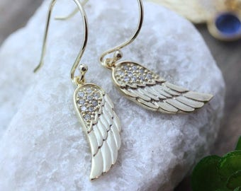 26e9b8050 Gold Angel Wing Earrings, CZ Angel Wing Earrings, Gold Angel Wing Jewelry.