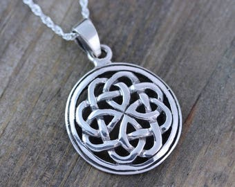 Sterling silver celtic knot knot necklace friendship symbol sterling silver celtic pendants celtic jewelry celtic knot friendship necklace mens leather sterling silver chains irish jewelry 065 mozeypictures Image collections