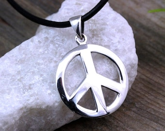 Peace sign necklace etsy sterling silver peace sign necklace peace necklace silver peace sign pendant necklace choose your chain peace sign jewelry medium r 784 aloadofball Images