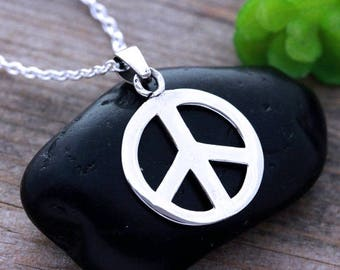 fb6cb50ae Sterling silver Peace Sign Necklace, Peace Necklace, Silver Peace sign  Necklace. Choose your chain, Peace sign Jewelry. 783