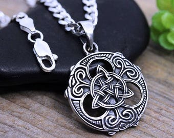 bcc9c9d3a Irish Jewelry, Mens Necklace, Unisex Irish Jewelry Sterling Silver Trinity  Knot Necklace. choose chain. Celtic jewelry Triquetra