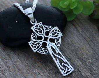 68ffe49017ce33 Sterling silver Celtic Cross, Celtic Jewelry, Irish cross necklace, Mens  necklace, Father gift,knot necklace, Trinity Cross, Friendship 17_2